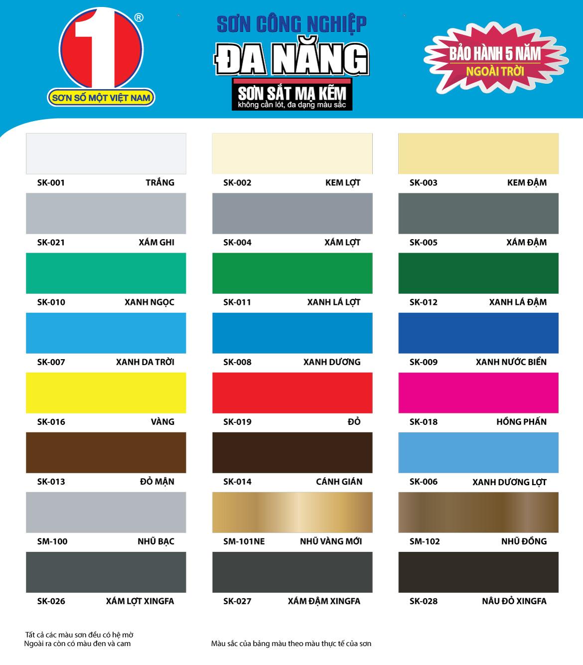 bảng màu sơn công nghiệp đa năng