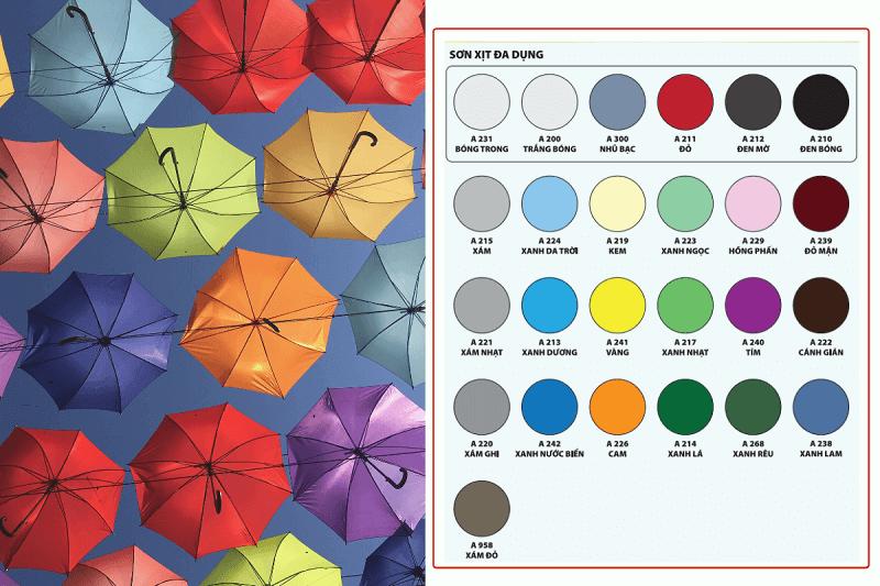 25 màu sắc sơn xịt thông dụng