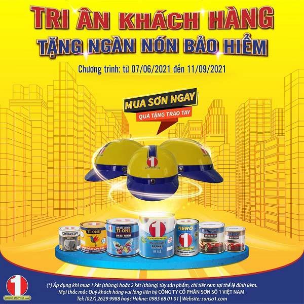 Poster chương trình Tri ân khách hàng - tặng ngàn nón bảo hiểm (Nguồn: Sơn Số 1 Việt Nam)